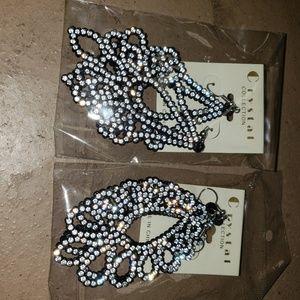 2 pairs of rhinestone dangling earrings
